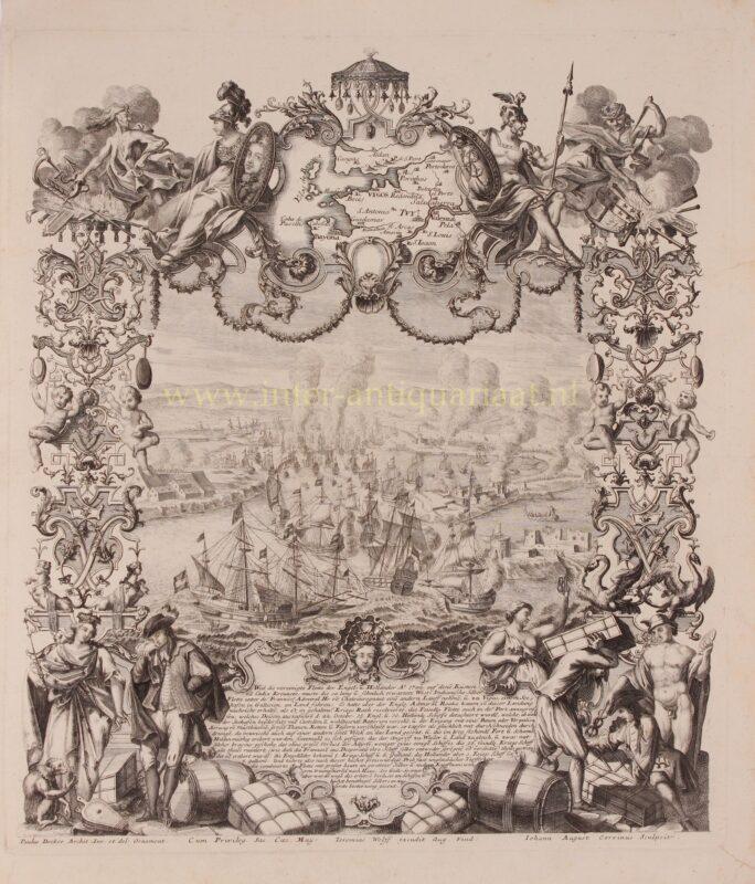 Battle of Vigo Bay – Johann August Corvinus after Paul Decker, c. 1720