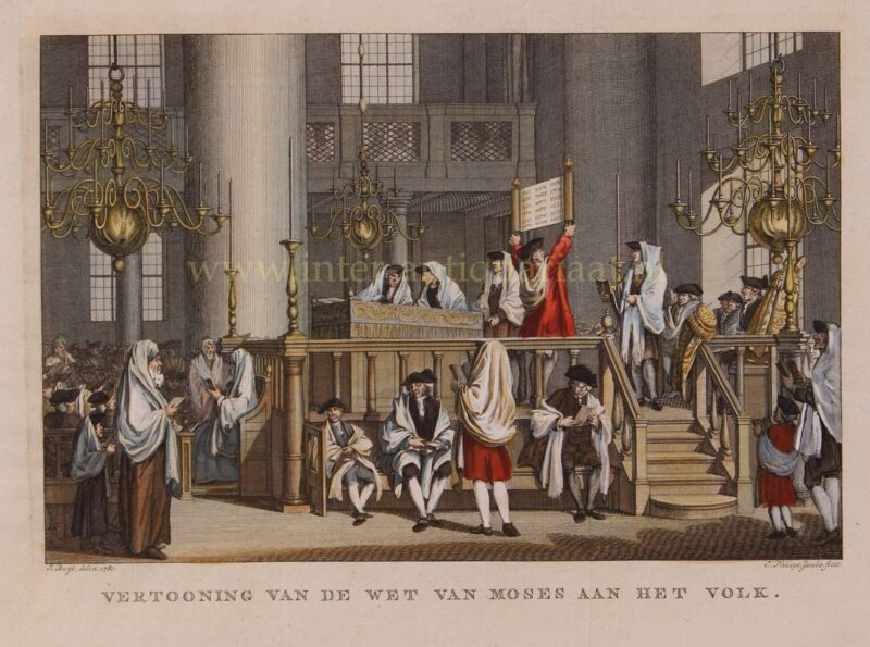 Sabbath in Portugese synagogue Amsterdam – Caspar Philips Jacobsz. after Jacobus Buys, 1781-1791