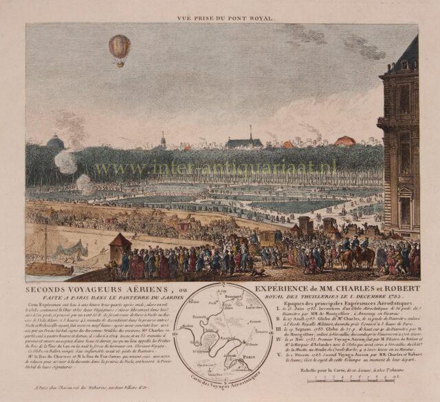 eerste vlucht met een waterstof ballon 1783