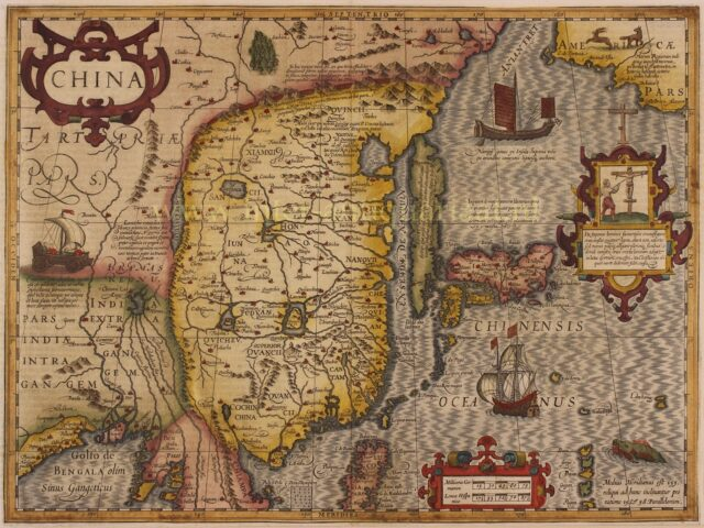 17e-eeuwse kaart van China Korea en Japan