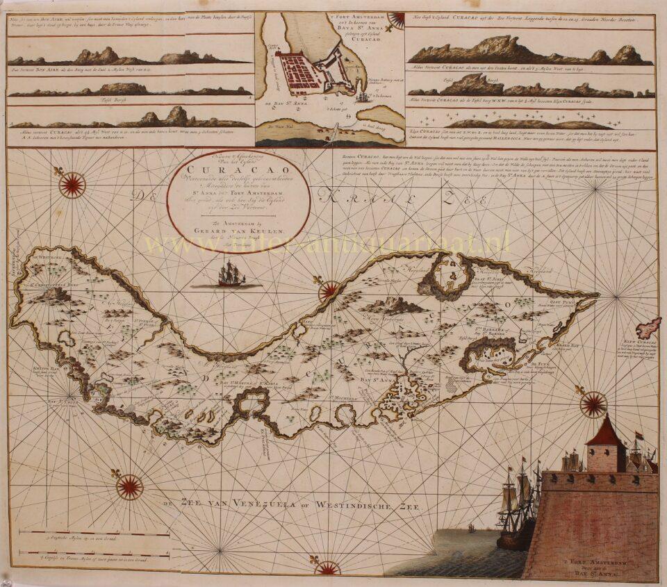 18e-eeuwse paskaart van Curaçao