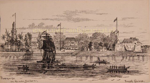 Waterkant Paramaribo medio 19e-eeuw