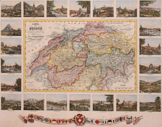 19e-eeuwse kaart van Zwitserland