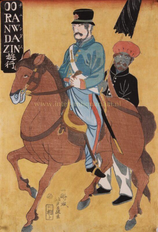 Dutchman on horseback in Japan – Yokohama-e,1861
