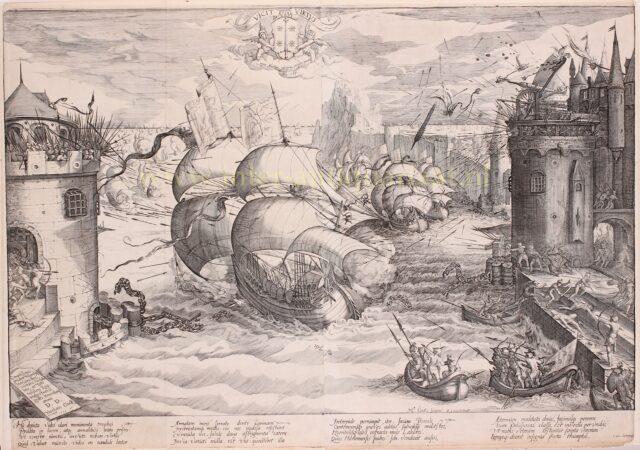 Doorbreken van de ketting van Damietta - Nicolaes Jansz. Clock, 1595