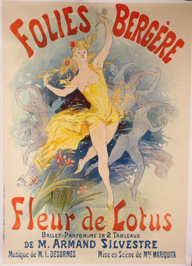 affiche Folies Bergere, Fleur de Lotus - Jules Cheret, 1893