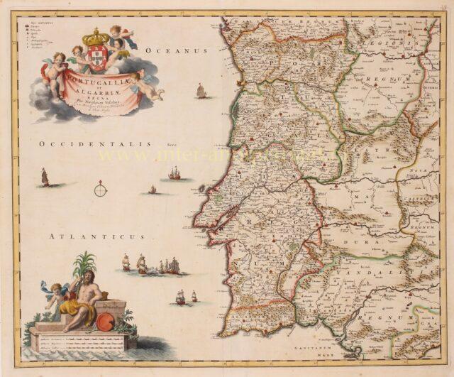 17e-eeuwse kaart van het koninkrijk Portugal en Algarve