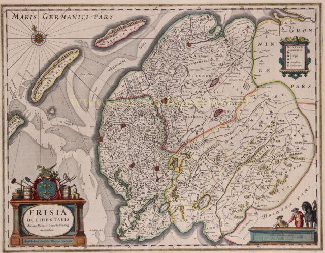 oude kaart Freisland 17e-eeuw