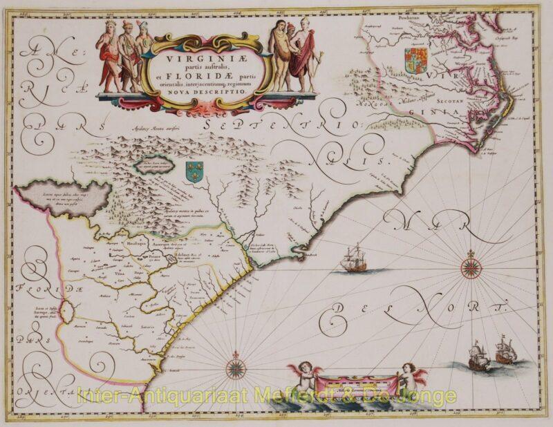 North America, Virginia, East coast antique map – Blaeu