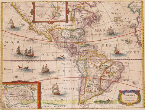 America rare map – Hondius/Janssonius, 1641