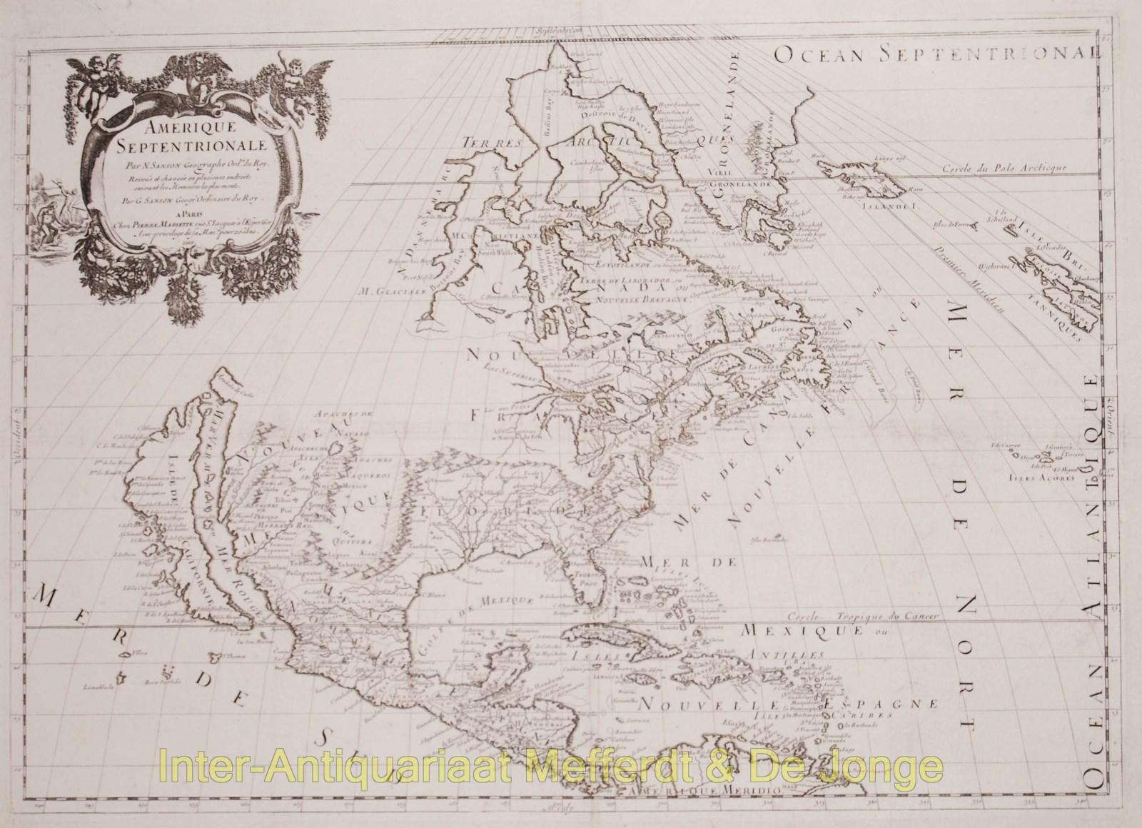 Antique Map Of North America.North America Antique Map Sanson Inter Antiquariaat Mefferdt
