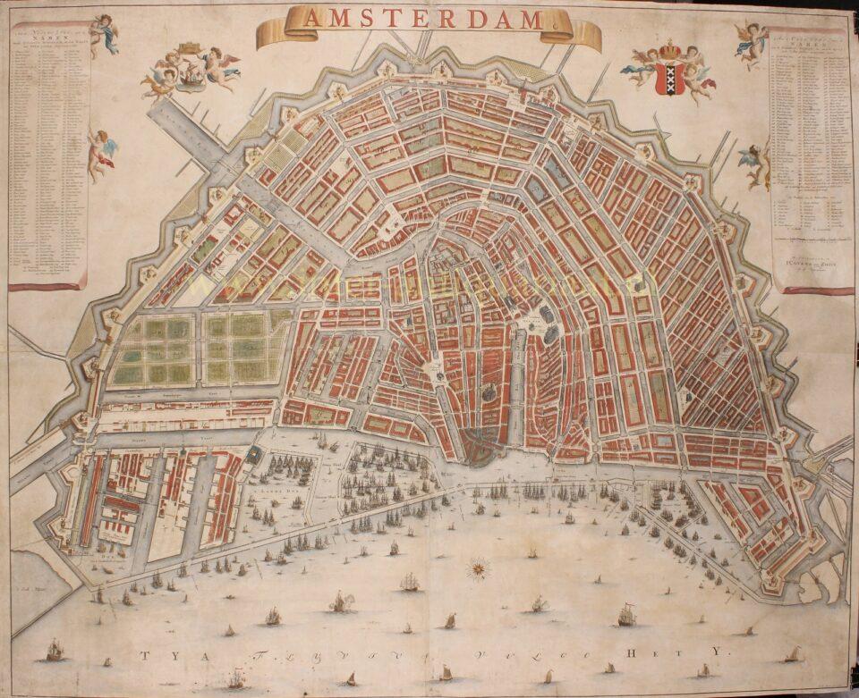 18e-eeuwse wandkaart van Amsterdam