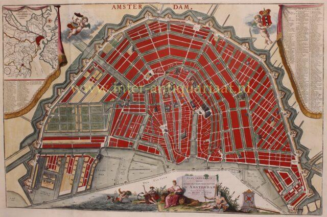 18e-eeuwse plattegrond van Amsterdam