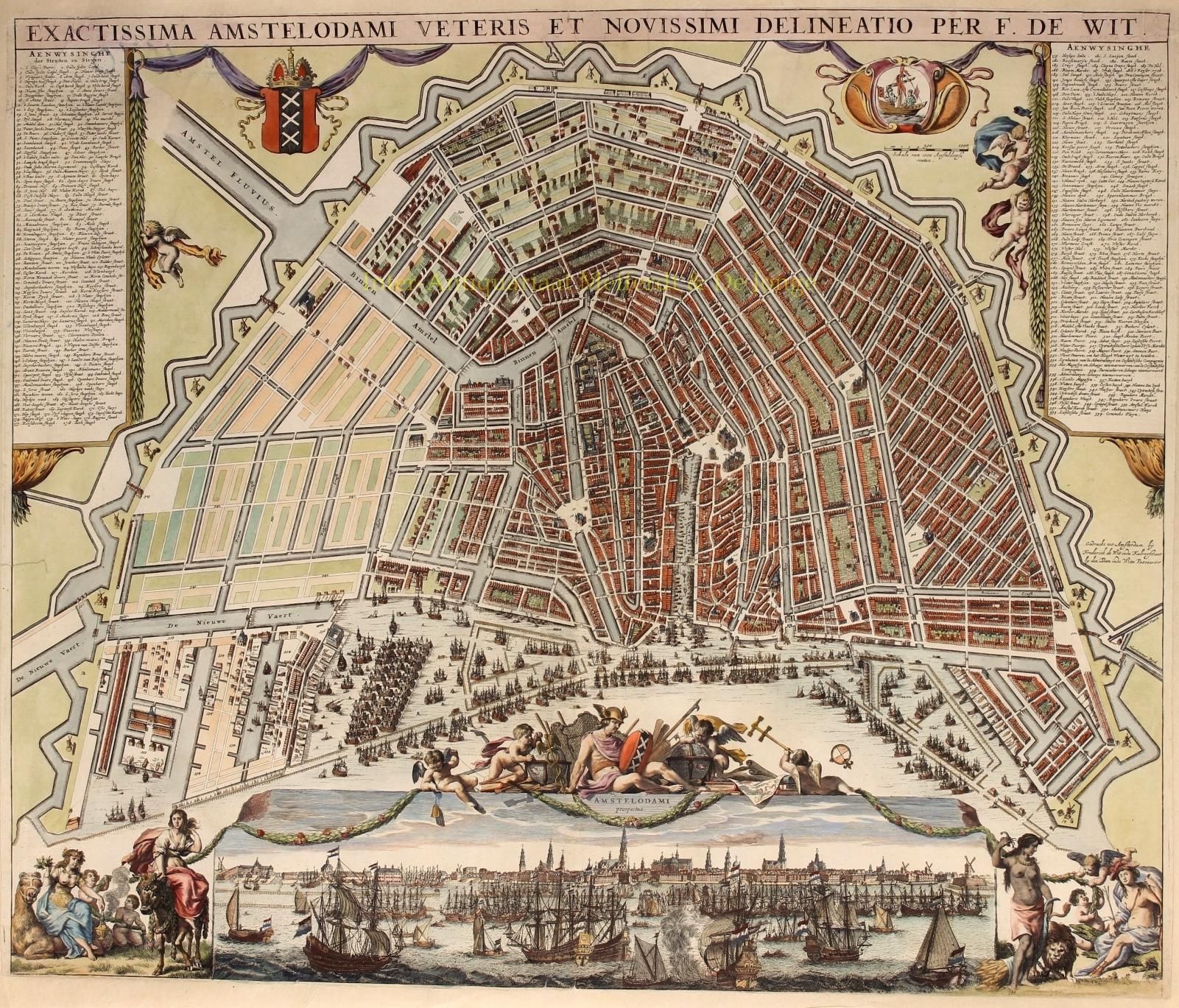 Antieke Kaart Van Amsterdam Gouden Eeuw Plattegrond 17e Eeuw