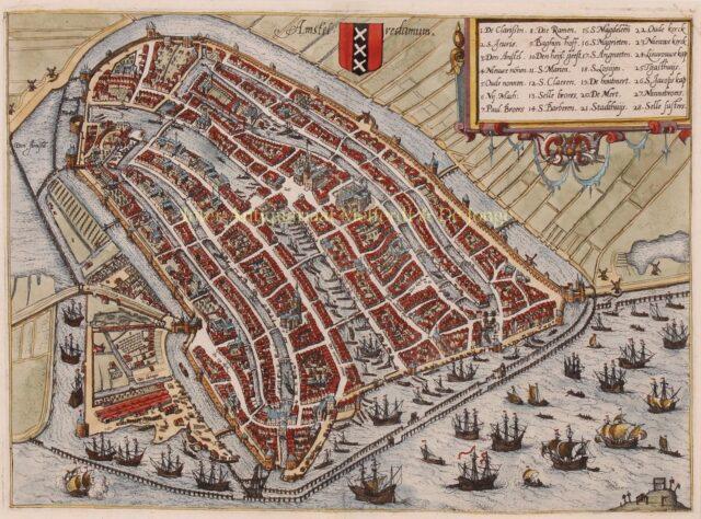 kaart van 16e-eeuws Amsterdam