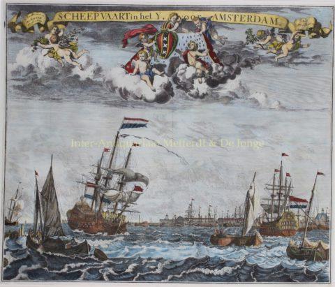 Amsterdam, schepen op het IJ – Abraham Allard, ca. 1720