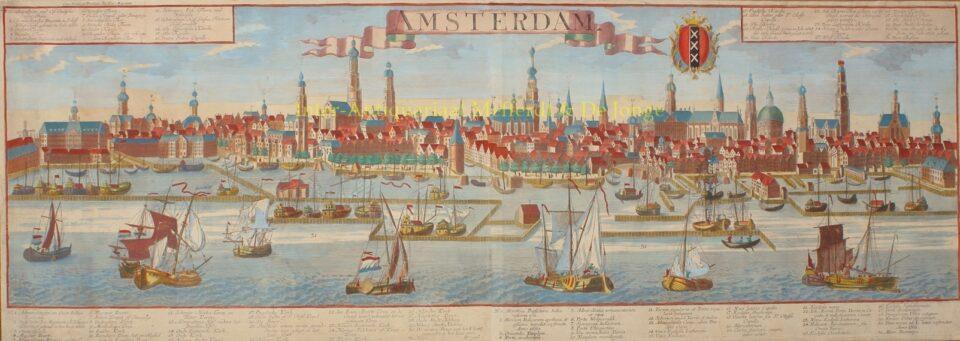 Amsterdam vanaf het IJ - Georg Balthasar Probst naar Friedrich Bernhard Werner
