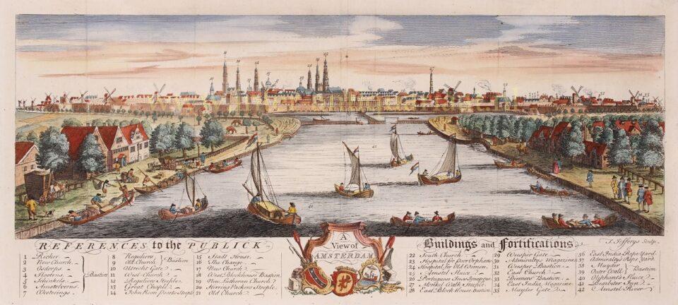 Amsterdam vanaf de Amstel medio 18e-eeuw