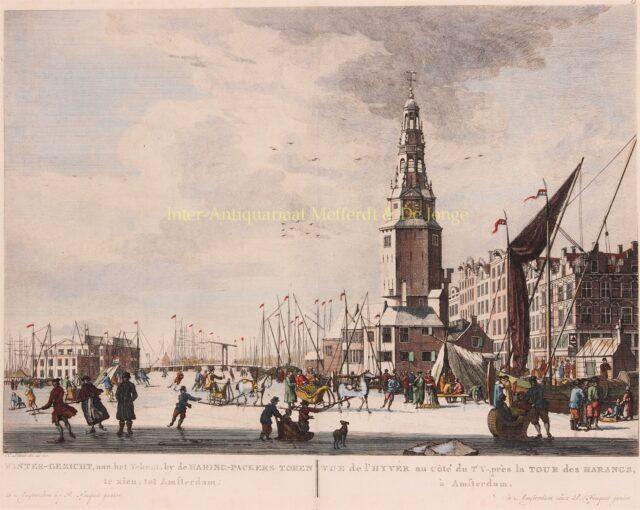 schaatsen op het IJ voor de Haringpakkerstoren