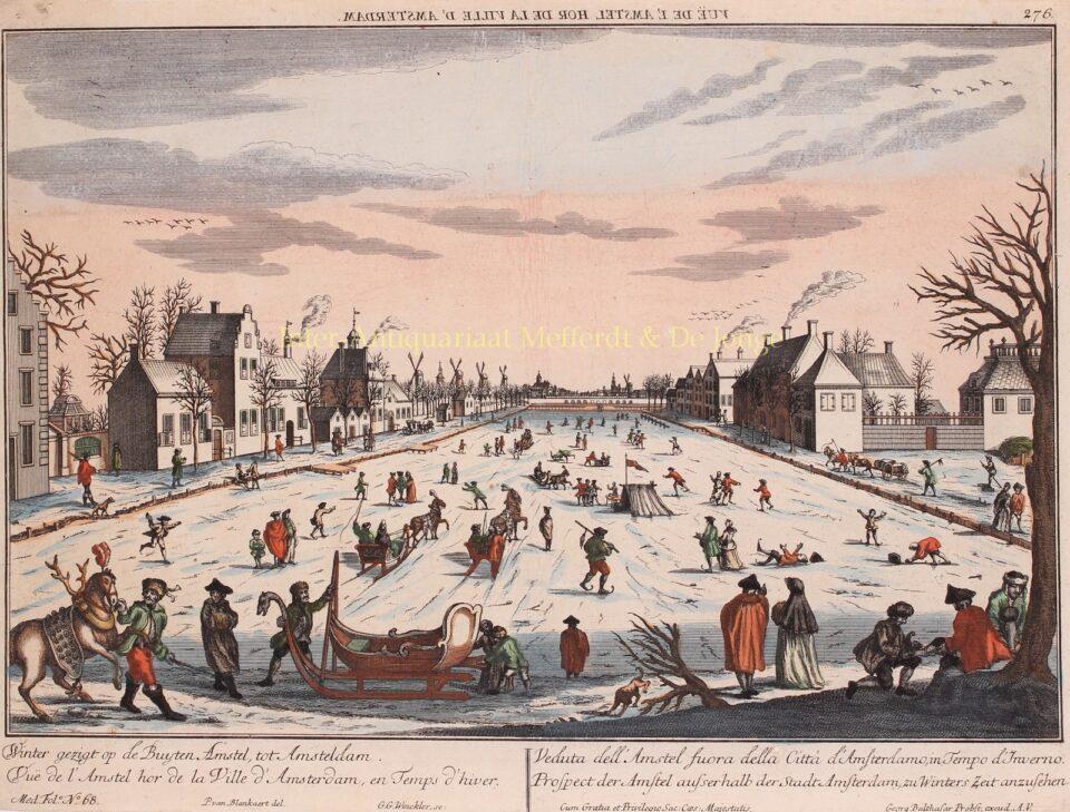 schaatsen op een bevroren rivier de Amstel 18e-eeuw