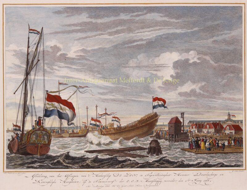 Tewaterlating bij VOC werf Amsterdam – Reinier Vinkeles, 1768