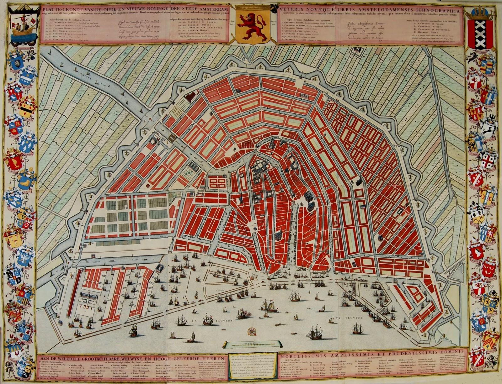 Wandkaart Amsterdam Plattegrond Covens En Mortier 1663