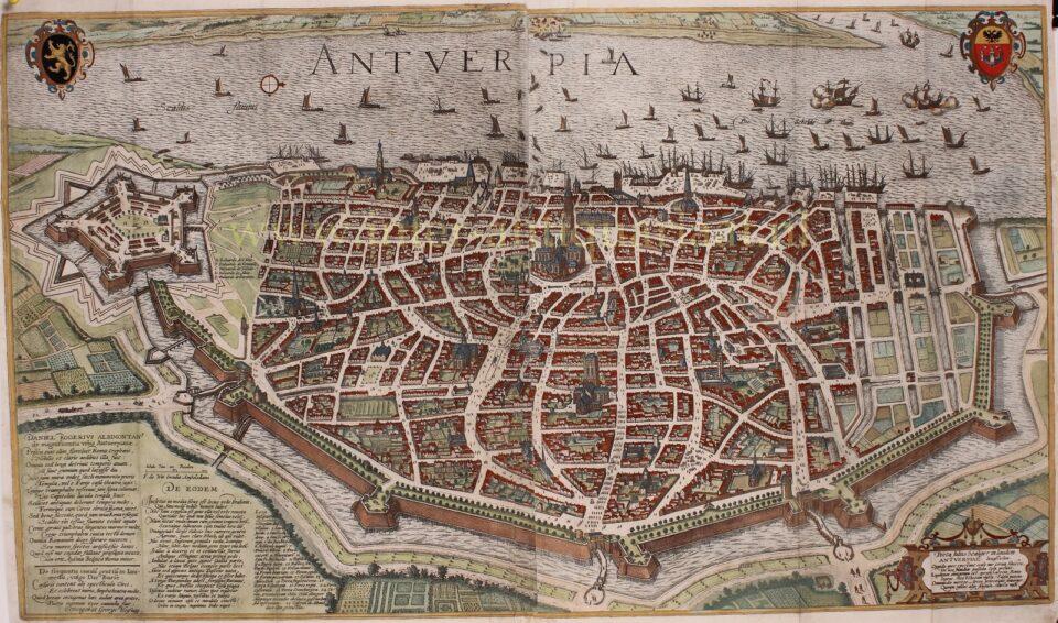 oude kaart Antwerpen 16e-eeuw