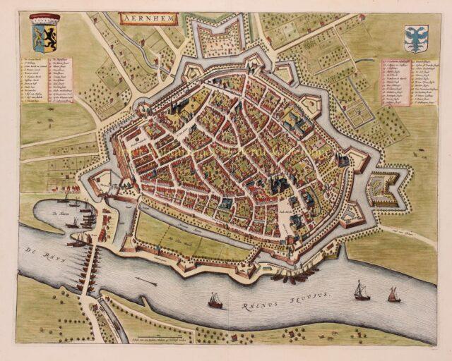 oude kaart van Arnhem