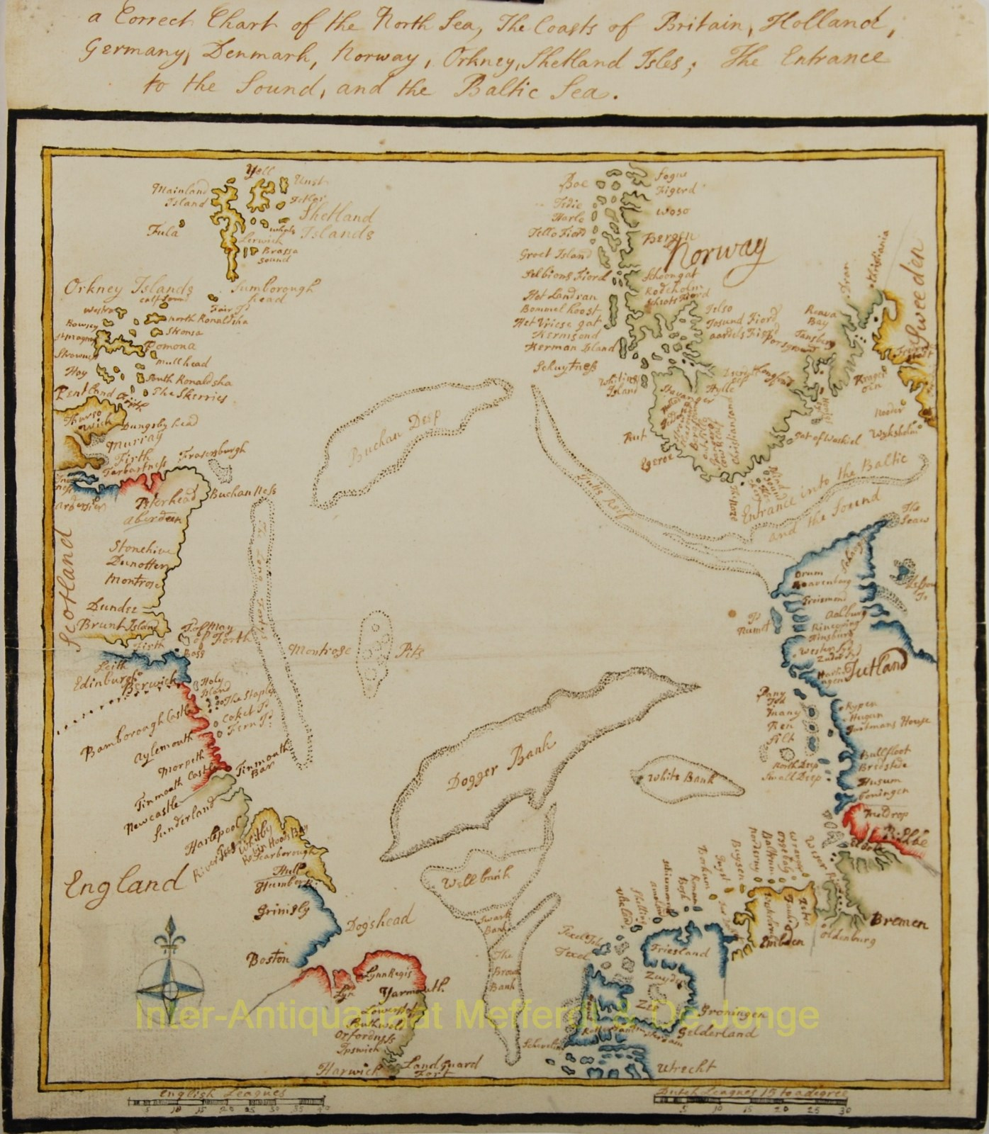 North Sea - manuscript map made in 1782