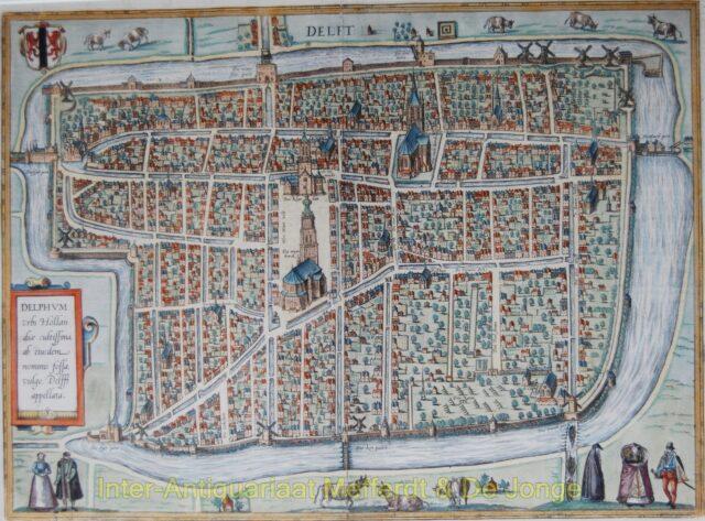 Delft plattegrond - Braun en Hogenberg