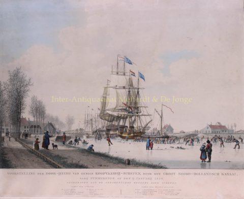 IJsbreken op het Noordhollandsch Kanaal – naar J.H. Koekkoek, 1830