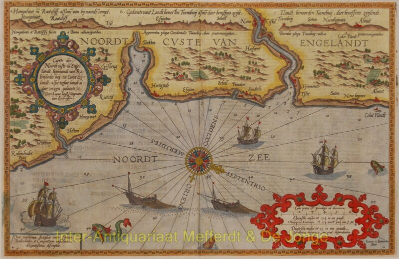 England, chart Robin Hood's Bay and Coquet Island – Waghenaer
