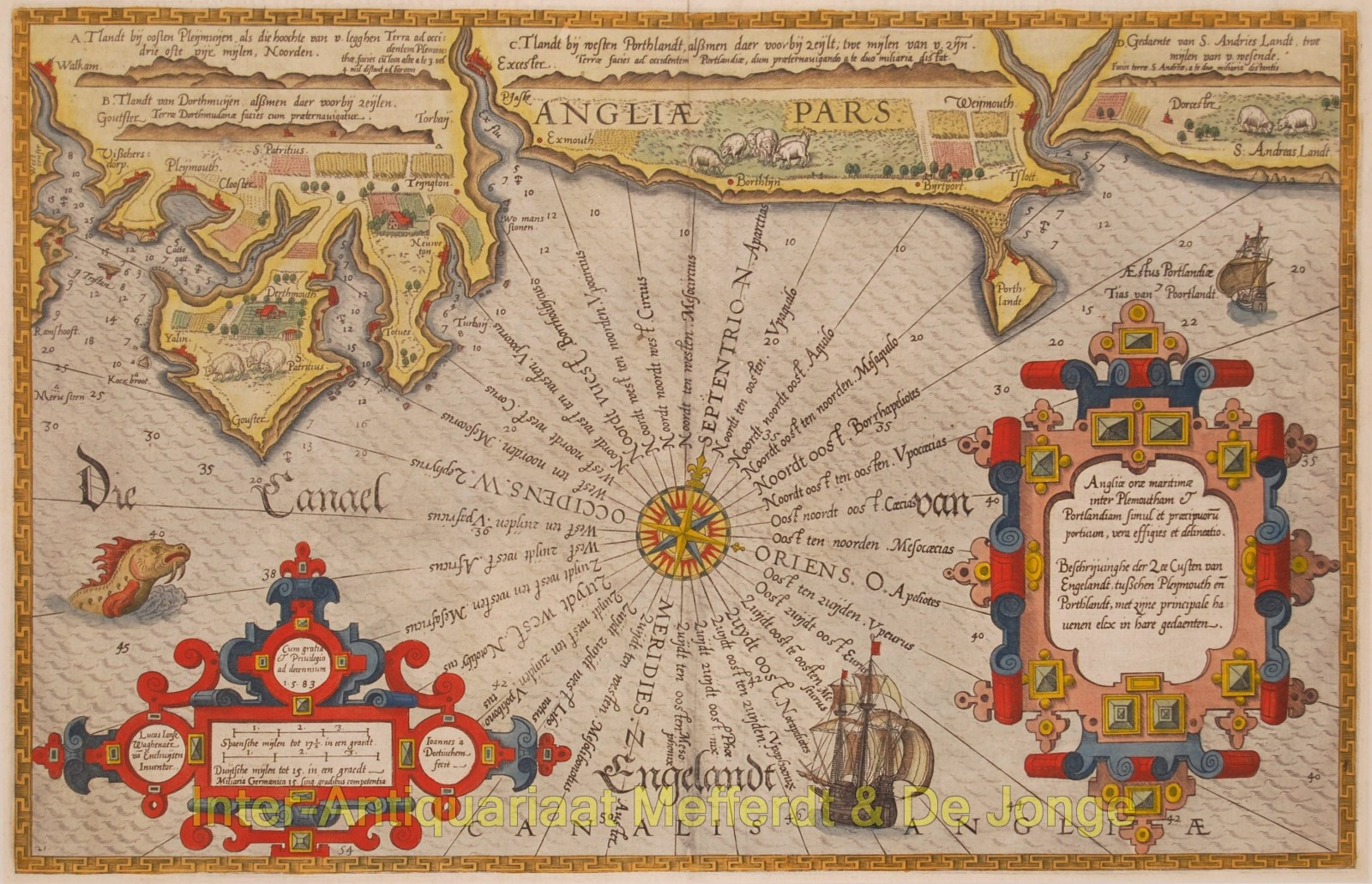 England, coastal chart between Plymouth and Portland - Waghenaer