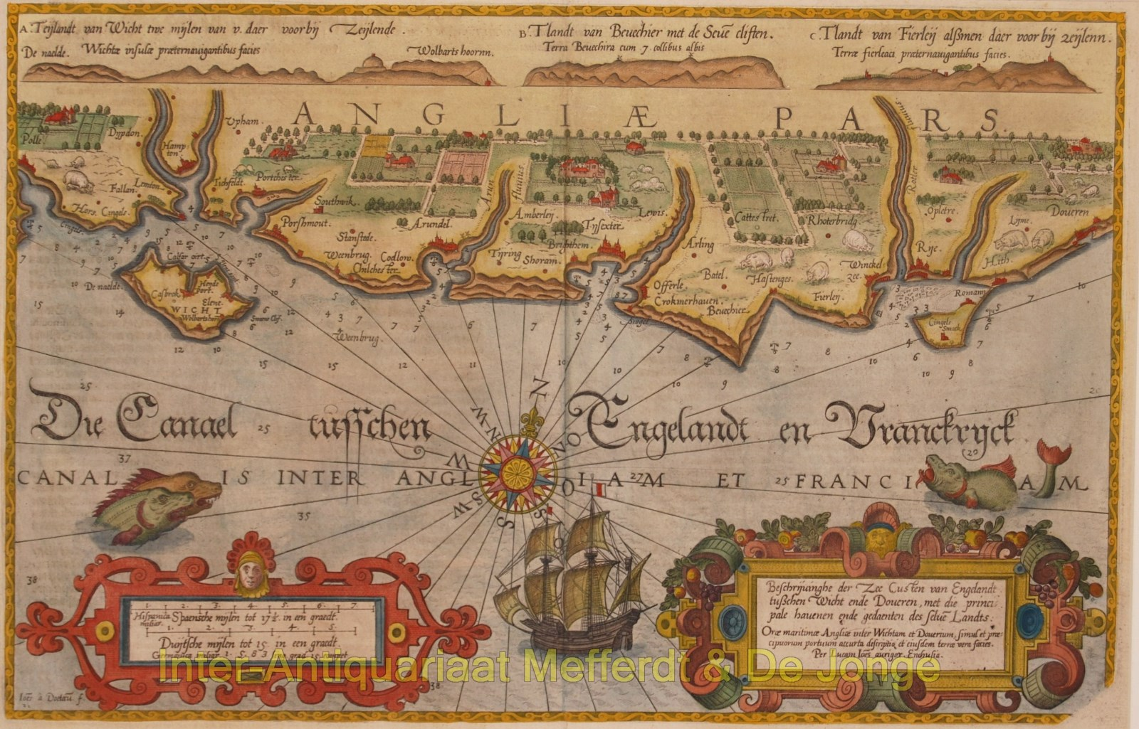 England, coastal chart between Wight and Dover - Waghenaer