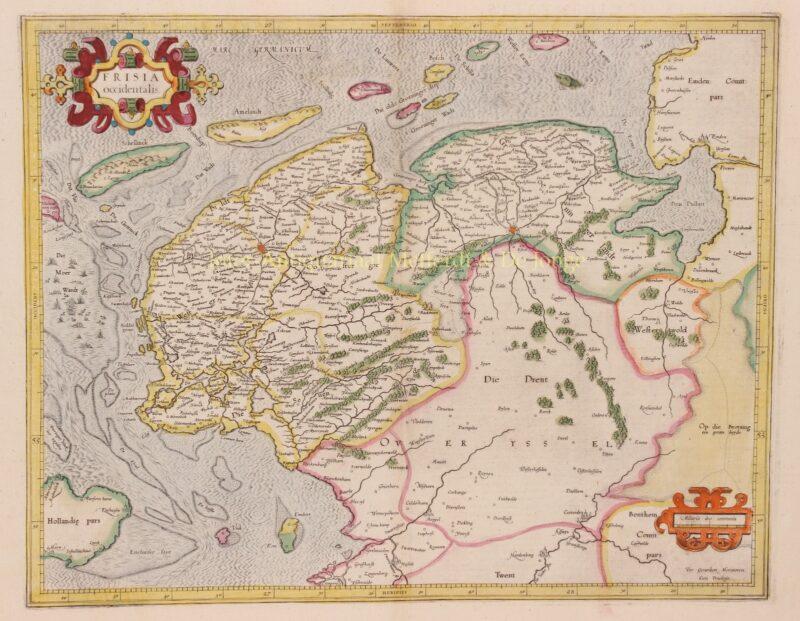 Friesland, Groningen, Drenthe – Gerard Mercator, 1585