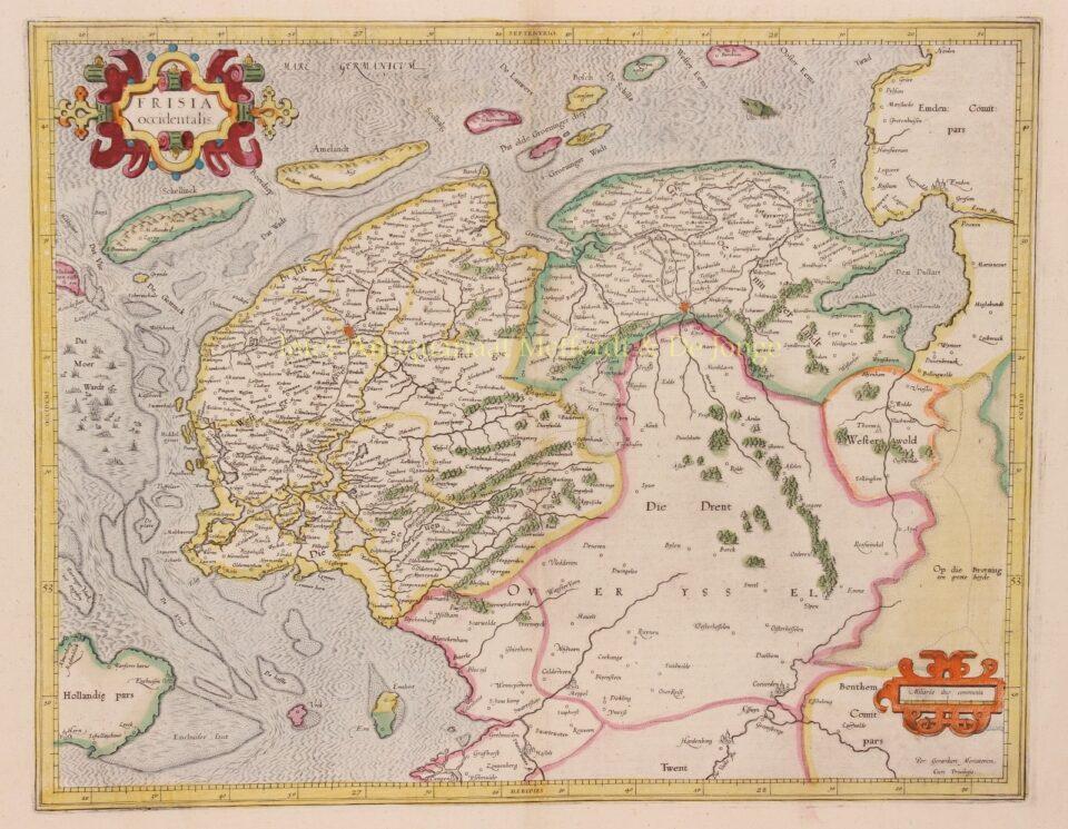 16e-eeuwse kaart van Friesland, Groningen, Drenthe