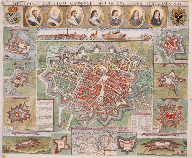 oude 17e-eeuwse kaart Groningen stad, zgn. Kleine Haubois