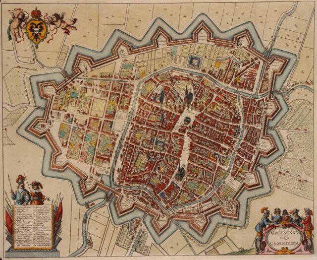 oude kaart Groningen 17e-eeuw