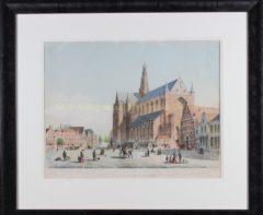 Haarlem, Grote Markt (lijst) – De Koning, ca. 1850