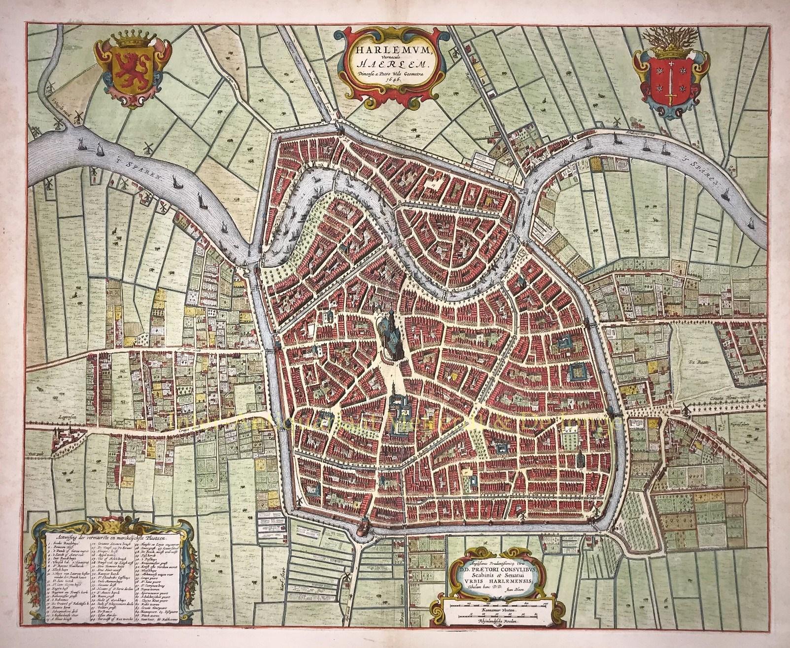 17e Eeuw Plattegrond Haarlem Originele Gravure Blaeu Gouden Eeuw