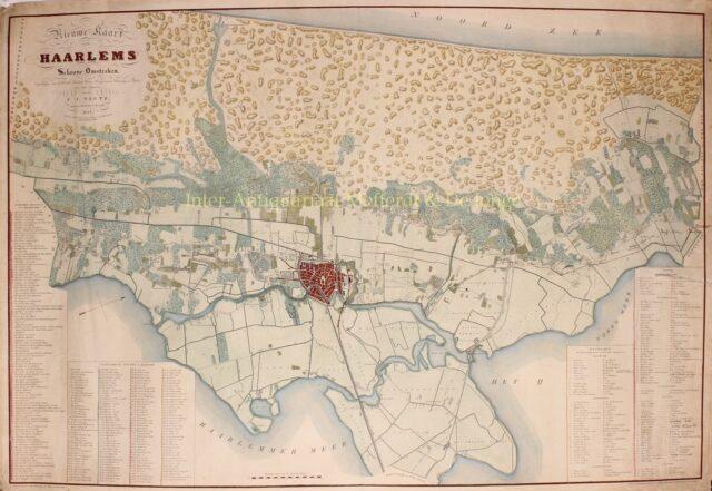 19e-eeuwse kaart Haarlem en omstreken