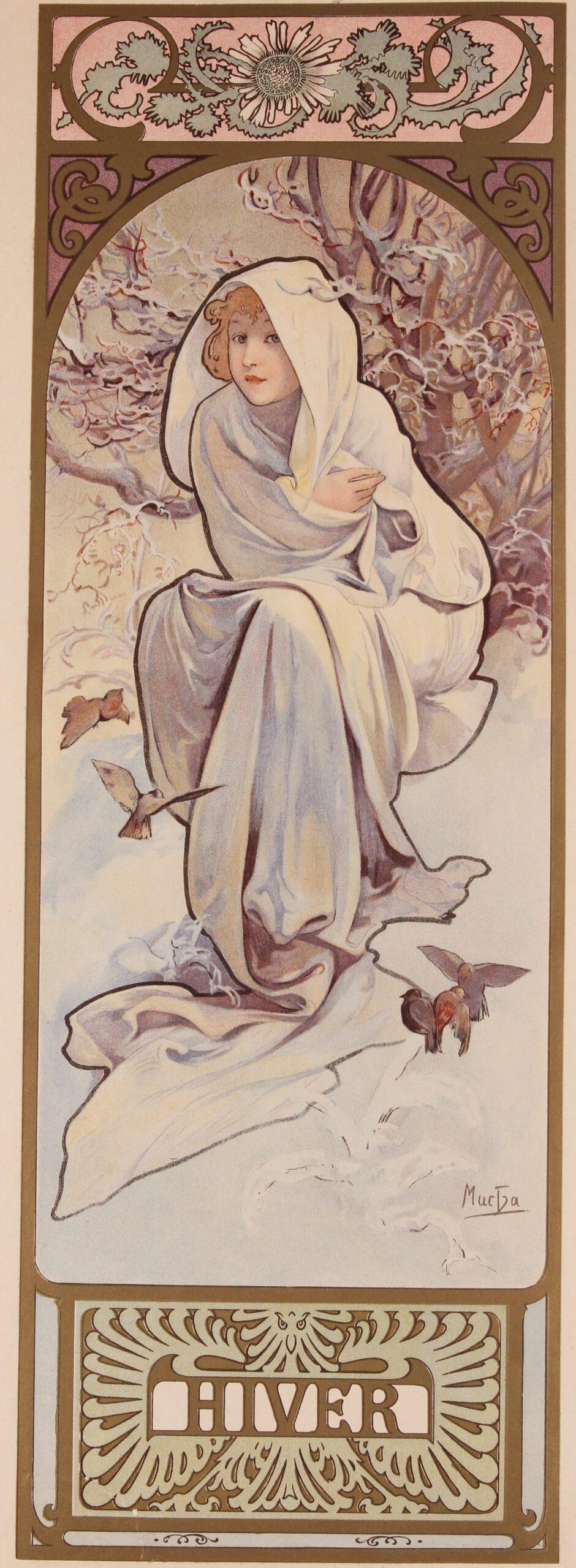 Originele 19e-eeuwse litho Alphonse Mucha