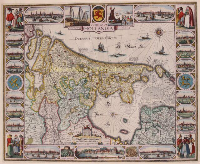 zeldzame 17e-eeuwse kaart van het Graafschap Holland