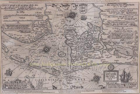 Paskaart Noordzee en Zuiderzee – Lucas Jansz. Waghenaer, 1590