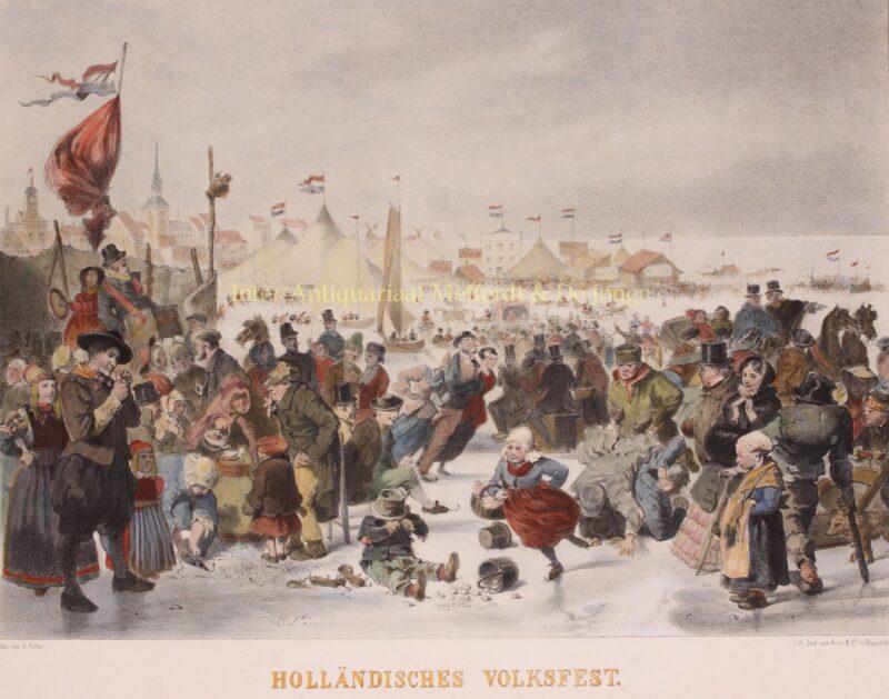 Kermis op het ijs, Volendam – Henry Ritter, ca. 1850
