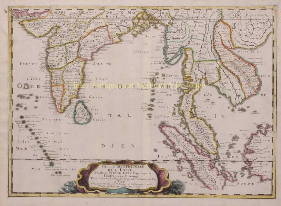 17th century map of India and Southeast Asia