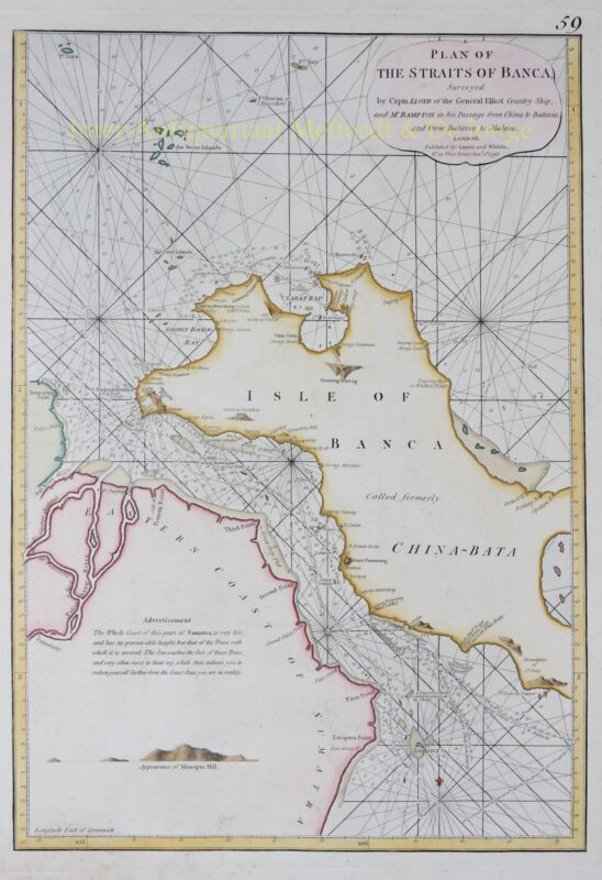 Indonesia, Straits of Banca – Laurie and Whittle, 1796