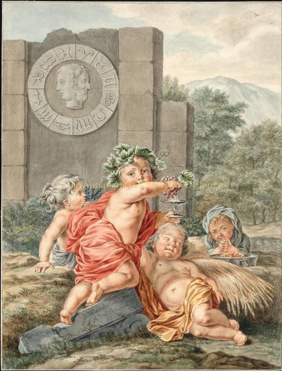 Vier Jaargetijden - Abraham Delfos naar Jan Wandelaar