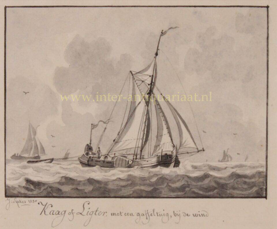 19e-eeuws kaag schip
