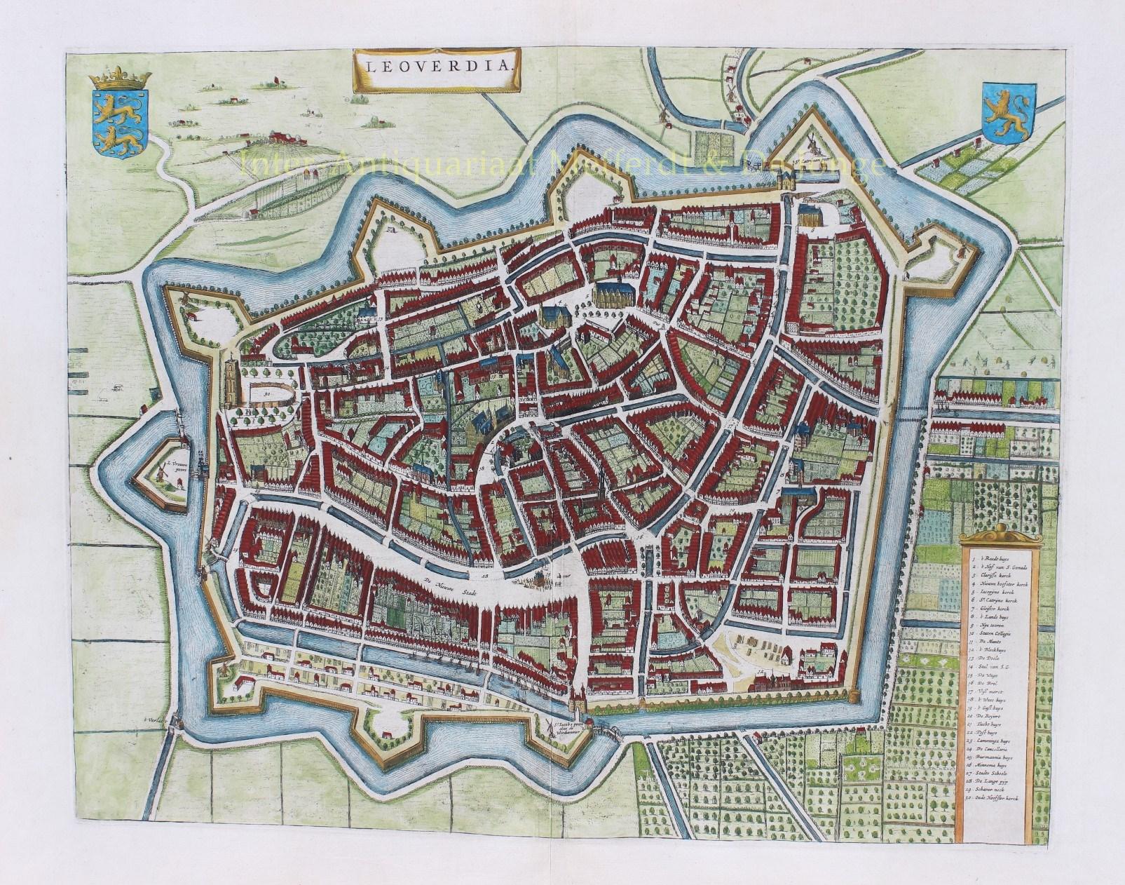 Oude Kaart Leeuwarden 17e Eeuw Gouden Eeuw Cartografie Geschiedenis